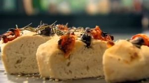 olive rosemary and tomato focaccia