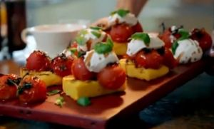 griddled polenta with tomatos and goats curd