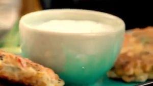 Sweet corn fritters & yoghurt dip