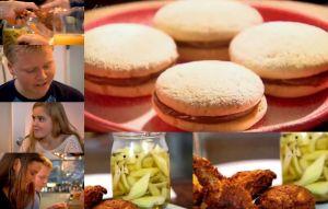 バターミルク・フライドチキンと、セロリの甘酢ピクルスと、ドルセ・デ・レチェのビスケット~「究極の料理~朝食からディナーまで~屋台料理」から