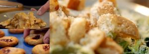 caesar salad and griddled chicken and peanut butter and jam cookies panorama