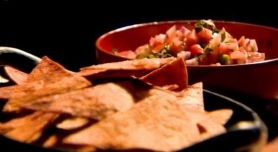 home made tortilla chips with pico de gallo dip