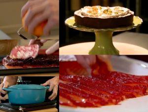サーモンのビーツ漬けと、ミントチョコレートのケーキ~「究極の料理~朝食からディナーまで~パーティ料理」から