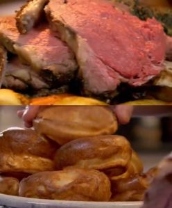 roast rib of beef and horseradish yorkshire pudding