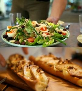 salad nicoise and goat cheese and pear tartine