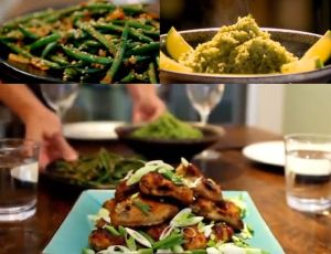 ディナー#3 ピリ辛だれの手羽肉、サヤインゲンのピーナッツ和えと、タイ風グリーンカレー味ライス Sticky spicy chicken wings + stir-fried soy and peanut green beans  & rice with thai green curry paste
