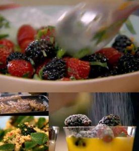 香り高いラムチョップと、焼きブロッコリーとブルガー小麦のサラダ、ヘルシーマンゴーサンデー~「究極の料理~朝食からディナーまで~ヘルシー料理パート2」から