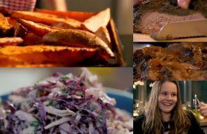 ディナー#11  牛のブリスケットバーベキュー風味と、コールスローサラダと、サツマイモの皮付きポテト BBQ Beef Brisket With Crunchy Coleslaw and Sweet Potato Wedges