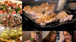 フェタチーズとスイカのサラダ、レモン風味の鶏肉とヒヨコ豆、レモンとバジルのシャーベット~「究極の料理~朝食からディナーまで~あっさり料理」から