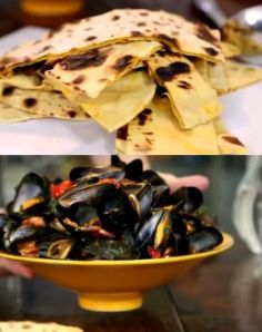 saffron flatbread and steamed mussels with cherry tomatoes and pancetta