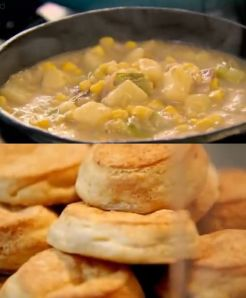 smoky bacon sweetcorn & potato soup with american style cheese biscuits