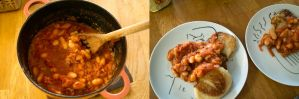 baked beans on potato cakes pano