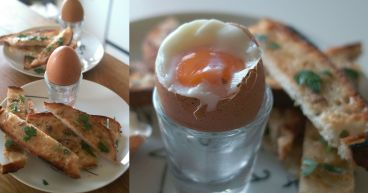 boiled egg and anchovy soldiers pano
