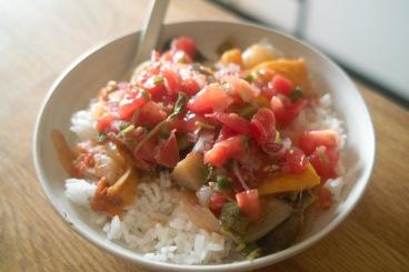 ratatouille rice with pico de gallo