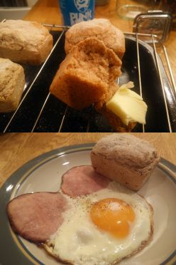 beer bread and bacon and eggs panorama
