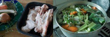 チキンストック用の鶏ガラと香味野菜やハーブ類(たまねぎ、長ネギ、ニンジン、にんにく、セロリ、タイム、ローリエ、粒コショウと塩)。丸どりをさばいた当日にストックまで作る時間がないときは、ガラは冷凍しておき、ストックづくりは別の日に回すことも。