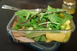 Mango, avocado and smoked chicken salad1