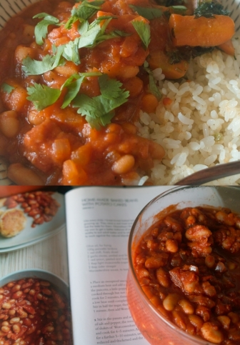 baked beans and rice combi