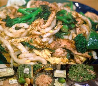 鶏むね肉と茎ブロッコリの焼うどん(画像をクリックすると拡大表示できます)