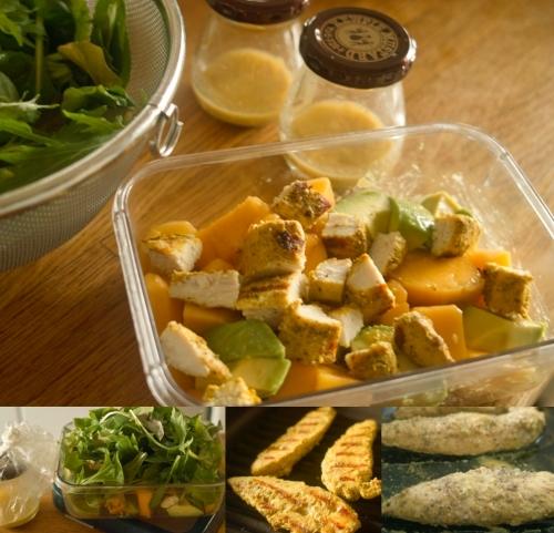 我が家定番の、ゴードン・ラムゼイ流マンゴーとアボカドサラダに鶏のささ身をタンドゥーリチキン仕立てで組み合わせました