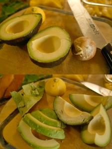 アボカドは変色しにくいようにレモン汁を少しかけておきます