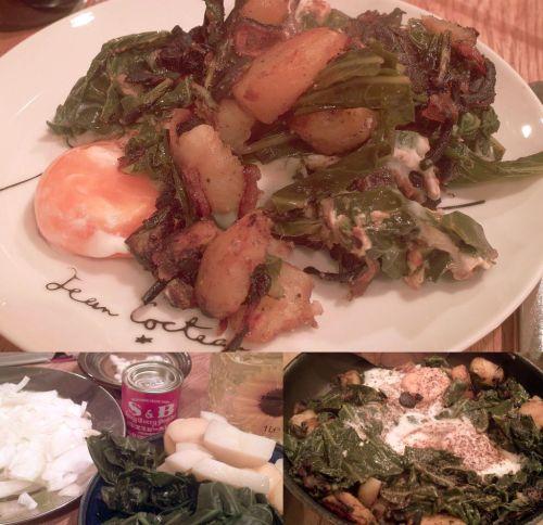 バブル・アンド・スクイーク(余りものジャガ野菜炒め)。クリックで画像が拡大できます